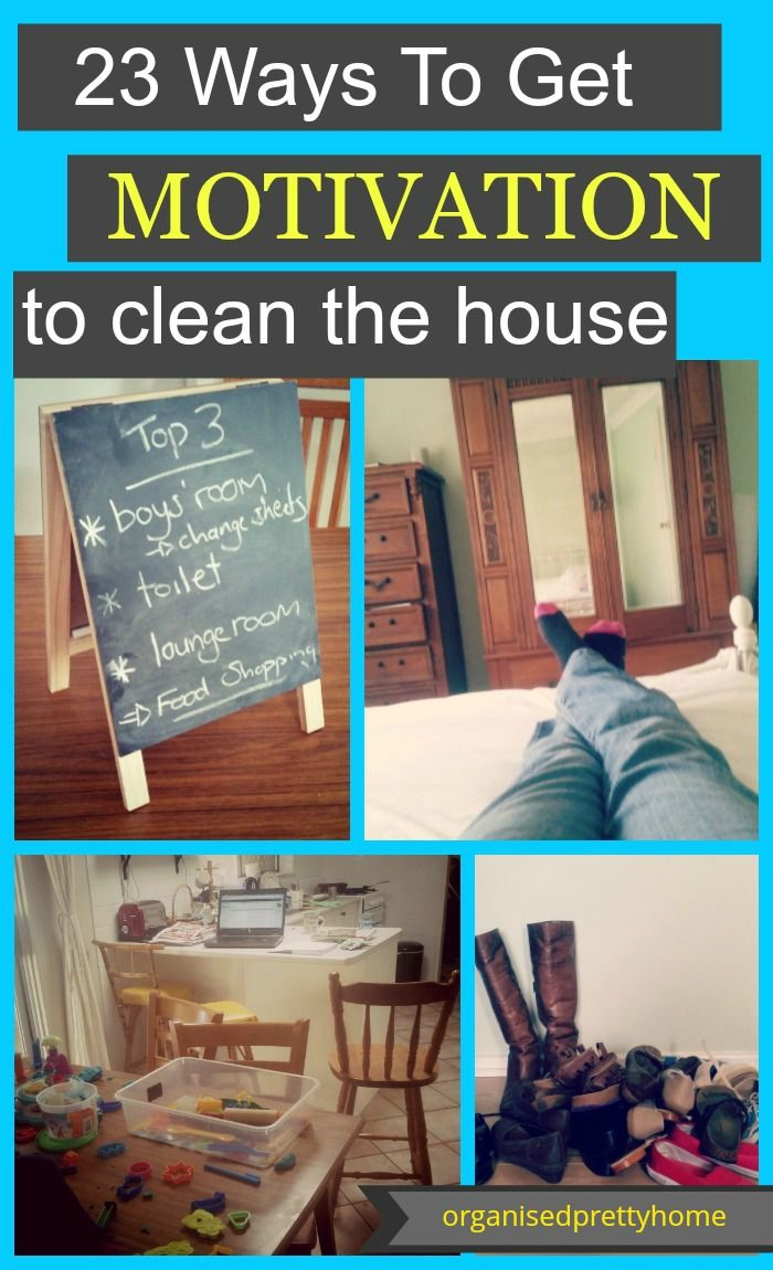 How to get motivation to clean the house.  Check out these 23 simple tips and ideas to get motivated to clean, declutter or organize your home when overwhelmed by the mess.  - Organised Pretty Home #declutter #clean #cleaningtips #cleaning #homeorganization #organizedhome #organisedhome #getorganised #motivatedtoclean #housework