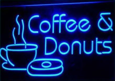 OPEN Coffee & Donuts Cafe Bar NR Neon Light Sign