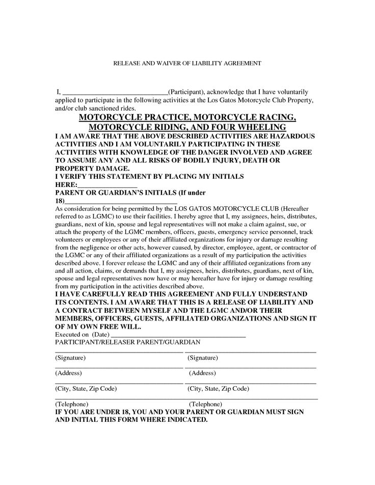 Motorcycle Liability Release Form Liability forms Pinterest - liability waiver form