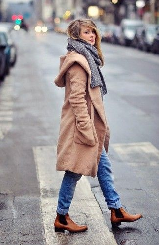 Women's Camel Coat, Blue Jeans, Tan Leather Chelsea Boots, Grey Scarf