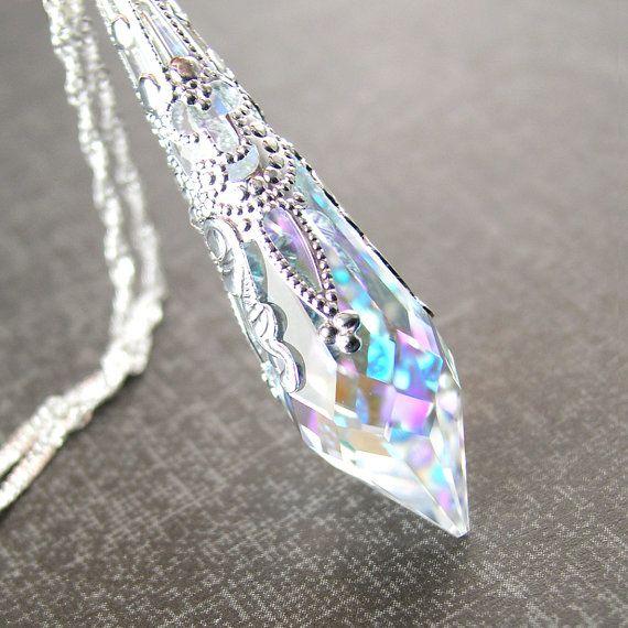 Swarovski Aurora Clear Crystal Necklace Sterling by DorotaJewelry
