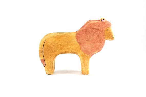 wooden lion toy waldorf toy eco friendly toys by outsideeverywhere