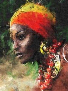 African beauty, Women, Girl, Digital painting, sketch