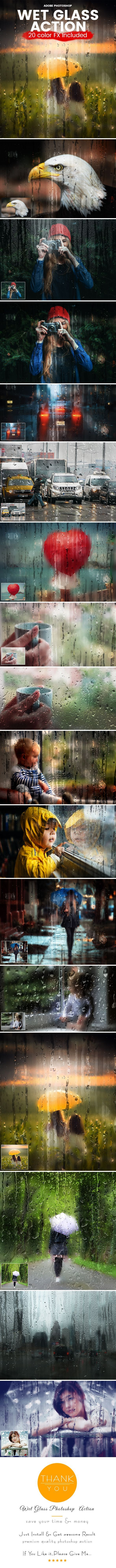 Wet Glass Photoshop Action — Photoshop ATN #effects #rainy day • Available here ➝ https://graphicriver.net/item/wet-glass-photoshop-action/20614835?ref=pxcr