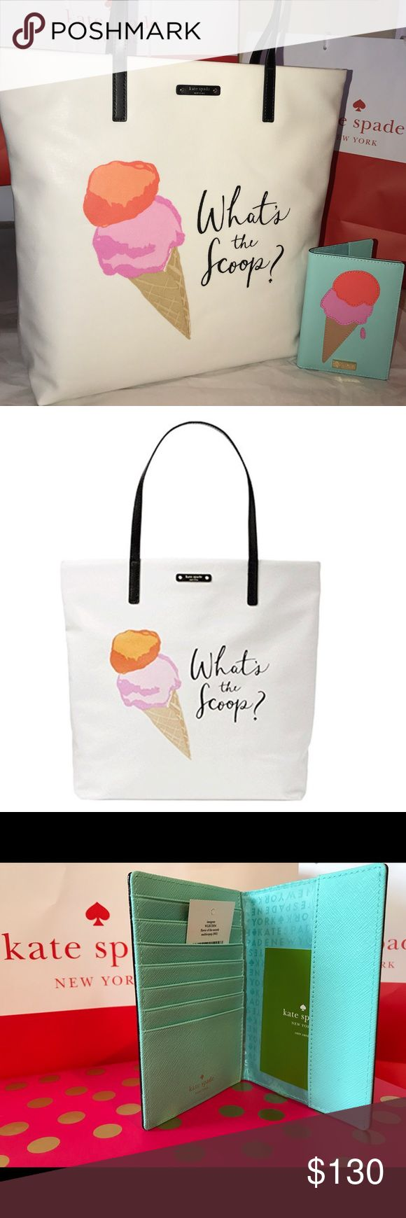 """Kate Spade Ice Cream Scoop Tote Bag & Card Holder 🍦Approximate dimensions: 15"""" w x 13.5"""" h x 5"""" d; 8"""" handle drop Coated canvas with patent pvc trim Capital Kate jacquard lining; Dual interior slide pockets Shoulder bag with an open top🍦.                                   Description for Wallet: 🍦 Engraved raised Kate Spade nameplate on front Leather. Kate Spade fabric interior features7 credit card slots. kate spade Bags Totes"""