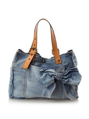 RED Valentino Women's Bow Tote, Blue Denim