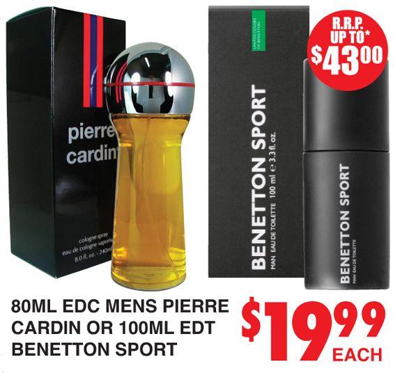 Perfume Pierre Cardin or Benetton Sport http://dimmeys.com.au