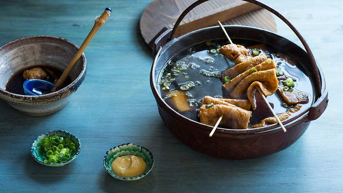 Korean fish cake soup (o deng gook) | Korean fish cakes have a texture similar to firm tofu. If they're not to your liking, substitute with spicy Korean rice cakes (dduk bok ki) instead. You can also serve this soup with a peeled, hard-boiled egg if desired.