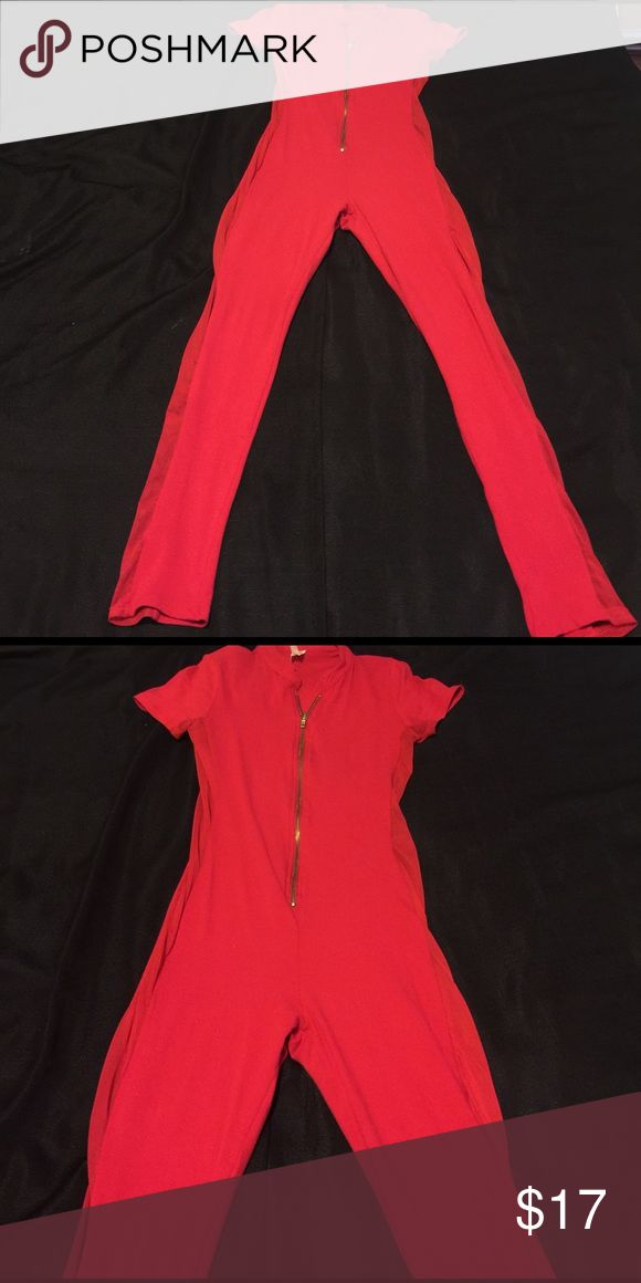 Red Catsuit💄💄 Red catsuit, the sides are see though. Size L. 95% cotton, 5%spandex. Other