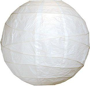 White 24 Inch Large Paper Lantern (free-style ribbing) by Luna Bazaar. $11.75. This large white paper lantern is made with the finest quality rice paper and bamboo freestyle ribbing. As with all our premium paper lanterns, they can be used with most ceiling fixtures and with most light cords for hanging lanterns. They can also be used with our LED battery lights as convenient, cord-free lighting and decoration for parties, weddings, patios, gardens, and outdoor celeb...