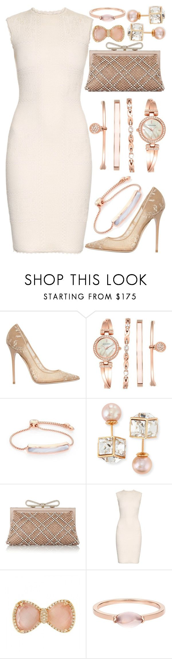 """Pretty In Pink"" by mrs-rc ❤ liked on Polyvore featuring Jimmy Choo, Anne Klein, Monica Vinader, Vita Fede, Valentino, Alexander McQueen, Pink, dress, lace and rosegold"