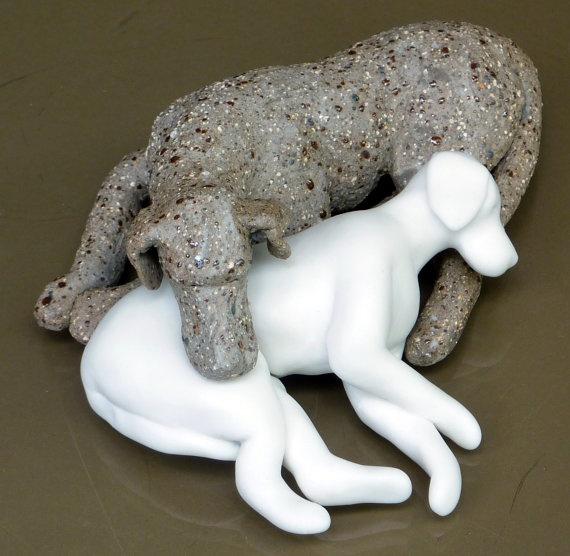 Clay Dog Porcelain Dog BFFs Ceramic Sculpture Figurine by MudPups, $185.00