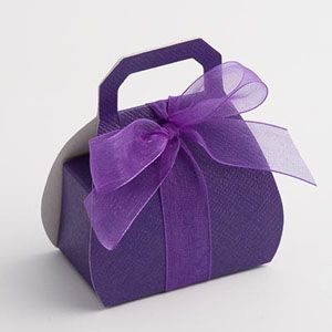 Purple Decorated Cake Boxes | Handbag Favour Boxes