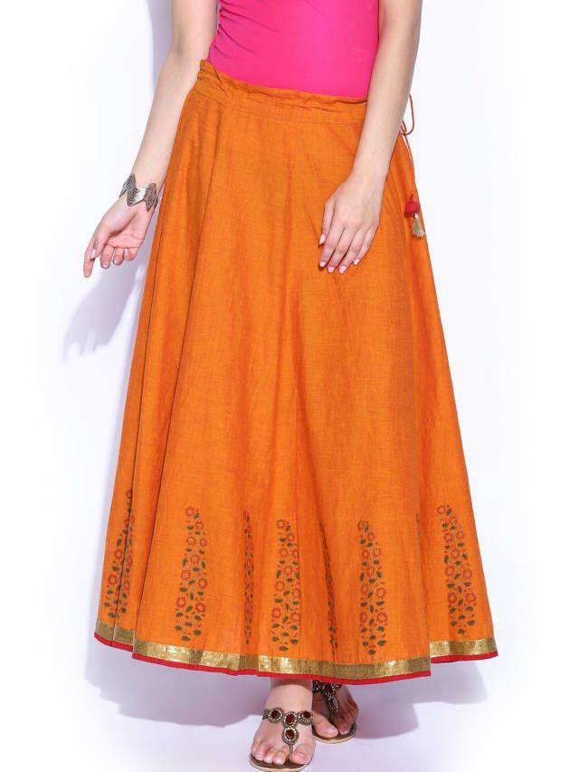 Fabindia Rust Orange Hand Block Printed Maxi Skirt