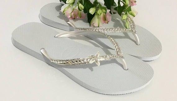 c9d5a08b4fb9 Custom Crystal Havaianas Slim White flip flops Silver starfish ...
