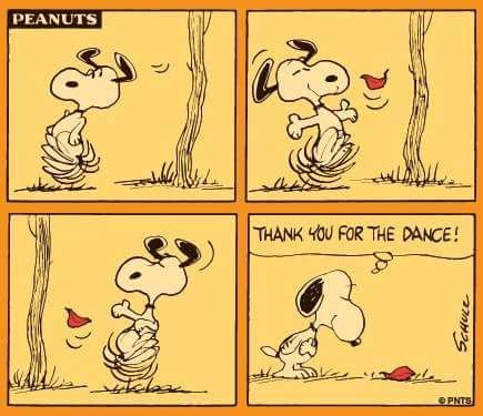 Snoopy dance with a falling leaf.