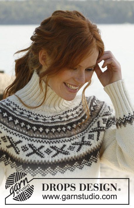 """Free pattern: Knitted DROPS jumper with round yoke and Norwegian pattern in """"Karisma"""". Size: S to XXXL. ~ DROPS Design"""