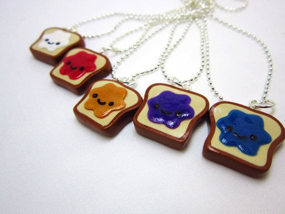 Best Friends Kawaii Peanut Butter and Jelly Toast Polymer Clay Charms BFF Silver Necklace so cute