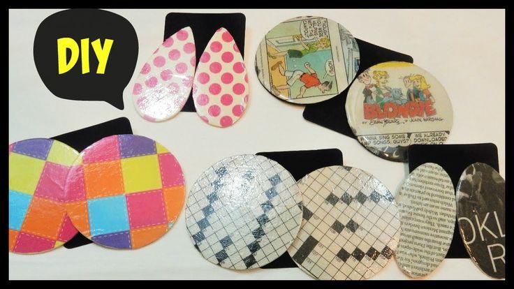 Recycled Comic Newspaper Earrings DIY-Decoupage On Wood