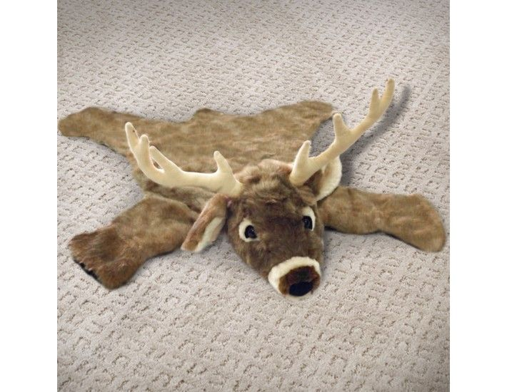 36in White Tail Deer Plush Faux Animal Skin Rug