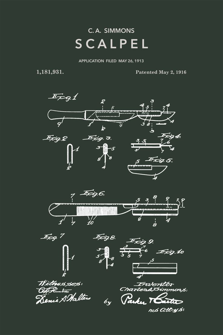 Scalpel Patent - Stretched Canvas