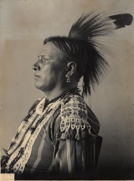 Portrait of Winnebago man, Charkshepshutsker (Red Eagle), Head Chief.  Part of Siouan (Sioux) and Winnebago Tribes.  1899.