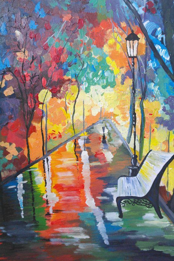Original Painting  Vibrant Rainy Night  Acrylic by TheGarnishRoom
