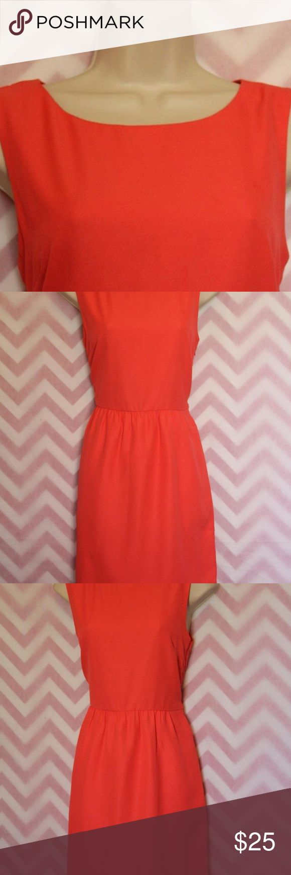 J. Crew Coral Dress Size 6 Classic Summer J. Crew Coral Dress. Pockets. Side Zip. Two light snags/runs in fabric. Nice dress! Size 6. 100% Polyester. Lining: 100% Acetate. Made in Sri Lanka.  Measured across lying flat/relaxed. These are only approximate. Pls refer to tag size. Bust16.5/Waist 14.5/Length 34.25  All items are clothes pinned in the back to fit my small mannequin and show fit/shape. What you see is what you will get so please view all pics closely! J. Crew Dresses