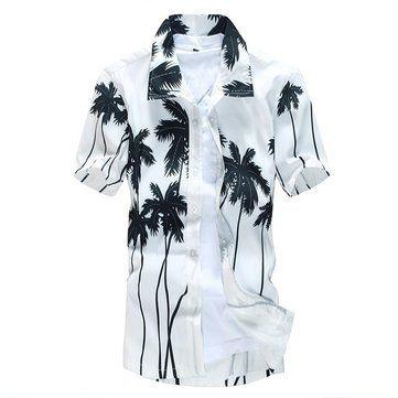Mens Aloha Beach Plus Size Quick Dry  Loose Short Sleeve Casual T-shirt