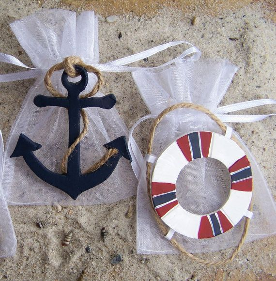 Nautical theme baby shower party favor bags. All handcrafted by FavorsByGirlybows. Custom order creations for all events.