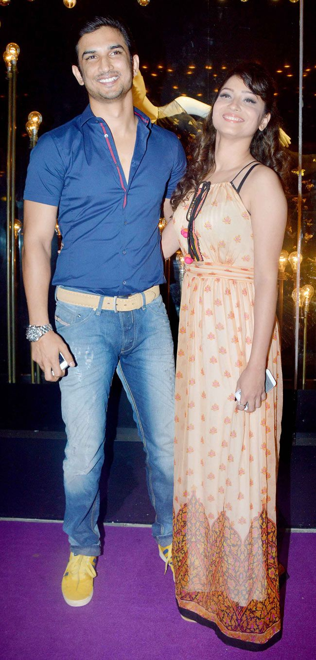 Sushant Singh Rajput with Ankita Lokhande at the the opening of the ethnic wear label Diva'ni in Santacruz. #Style #Bollywood #Fashion #Beauty