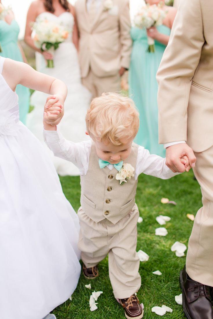 ring bearer mint aqua attire summer wedding: