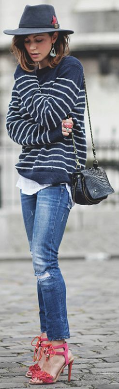 Horizontal stripes + ultimate timeless trend + gorgeous navy and white sweater + perfect match + Zoé Alalouch's + straight leg jeans + ultra retro combined + wide brimmed fedora + navy style + easy spring look!   Jumper: IKKS, Jeans: Zara, Sandals: Kurt Geiger.... | Style Inspiration