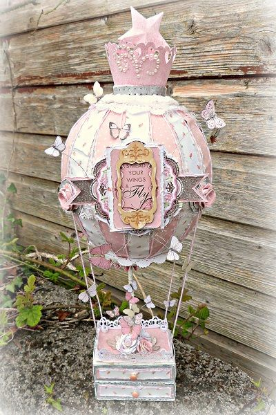 Tracee Provis created this gorgeous hot air balloon altered project for a special birthday using the new Primrose collection. Love all the beautiful elements. #BoBunny, @Tracee Farmer Farmer Farmer Farmer Provis