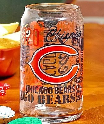 Chicago Bears Nfl Glass Cup Can Football Team Fan Kitchen Bar Home Decor