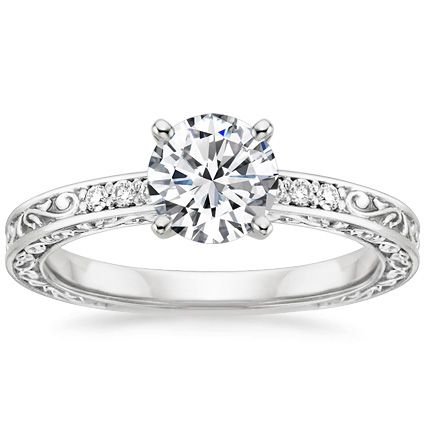 Vintage Engagement Ring | Delicate Antique Scroll |Brilliant Earth; filigree. I am in absolute love!!!!
