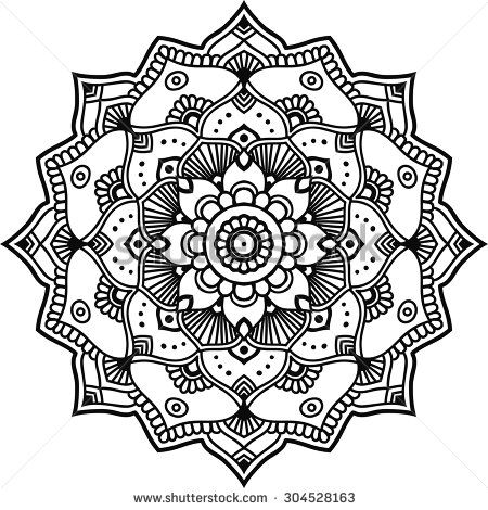 Simple black floral orient mandala on the white background.