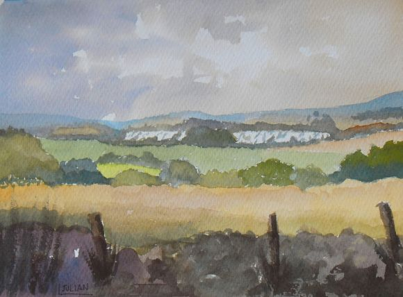 North Downs View, Original Watercolour Painting, from Holly Hill near Birling, Kent