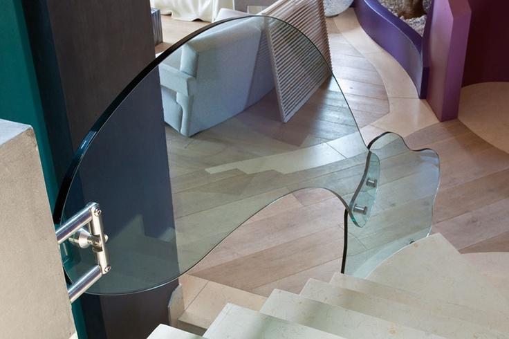 different glass handrail