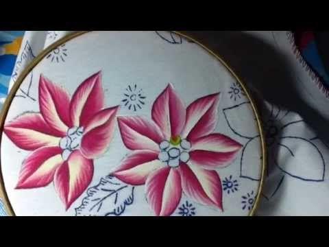 Pintura en tela nochebuena # 1 con cony - YouTube                                                                                                                                                                                 Más