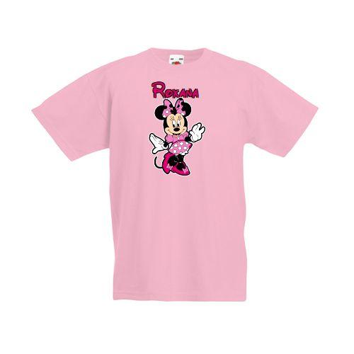 Tricou personalizat pentru fetite cu personajul de desene animate Minnie Mouse. Prenumele fetitei poate fi scris pe tricou.