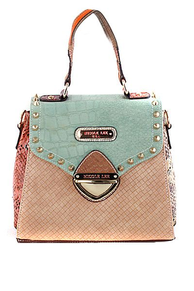 Mix & Match Color Block Satchel in Mint/Beige by Nicole Lee USA | Sincerely Sweet Boutique