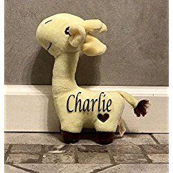 Decorative Personalized Stuffed Giraffe 8 1/2' Tall Great for shower, nursery, baby birth room