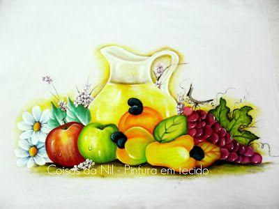 Pintura em tecido jarra com suco e frutas caju ma a e uva - Contorno di immagini di frutta ...