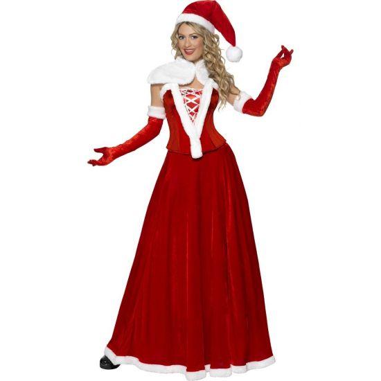 Luxe kerstvrouw kostuum  Luxe kerstvrouw outfit voor dames. Luxe Miss Santa kostuum dat bestaat uit een corset lange rok de kerstmuts een witte bolero en handschoenen. Materiaal: 100% polyester.  EUR 62.99  Meer informatie