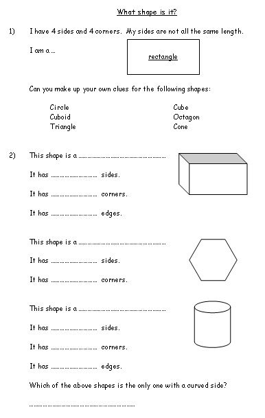 What shape is it? - Name and recognise common mathematical shapes (2D and 3D shapes).