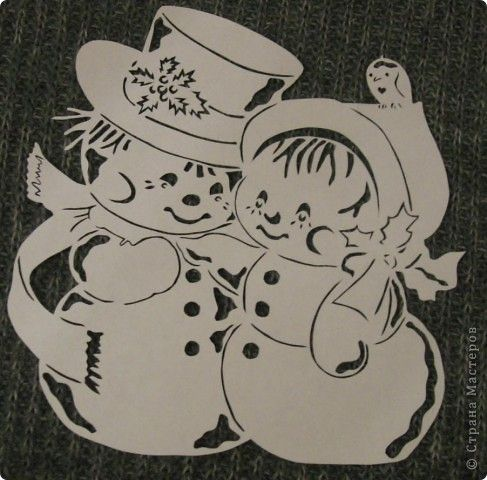 Картина панно рисунок Новый год Вырезание С   нежная парочка Бумага фото 2