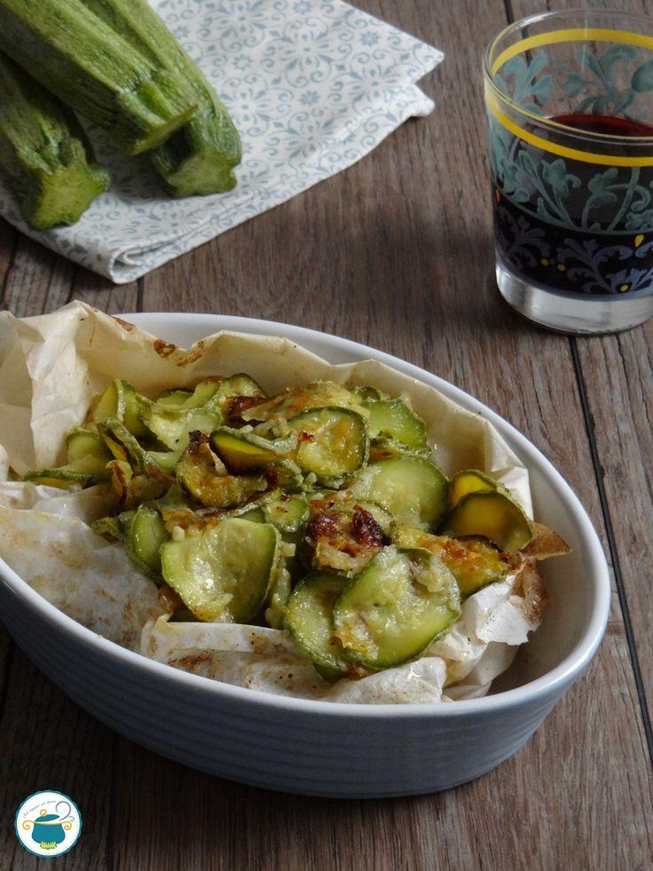 Zucchine al cartoccio / chips di zucchine al formaggio #zucchine #ricetta