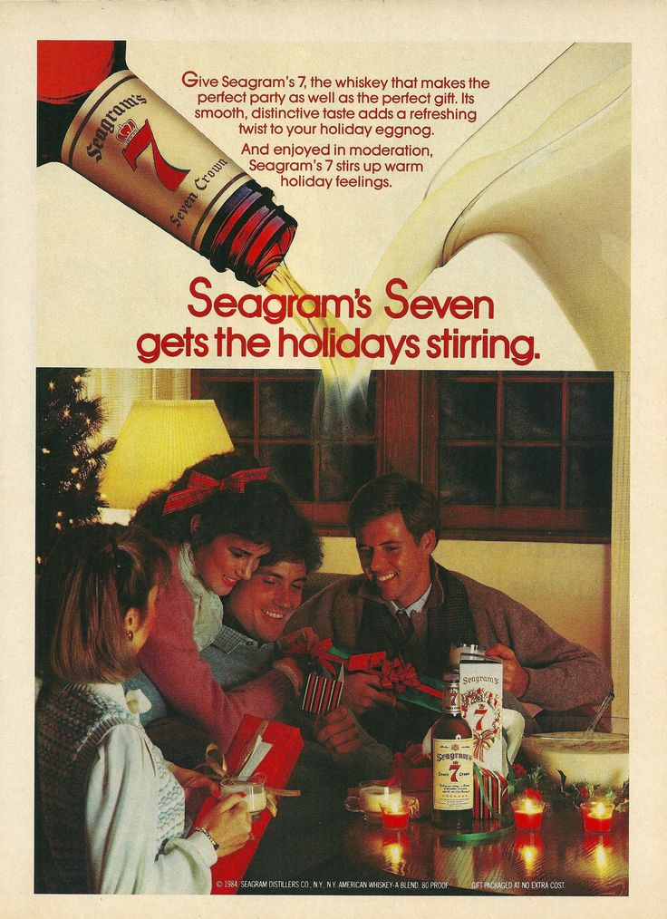1984 Seagrams 7 Whiskey Holiday Party Vintage Print Ad