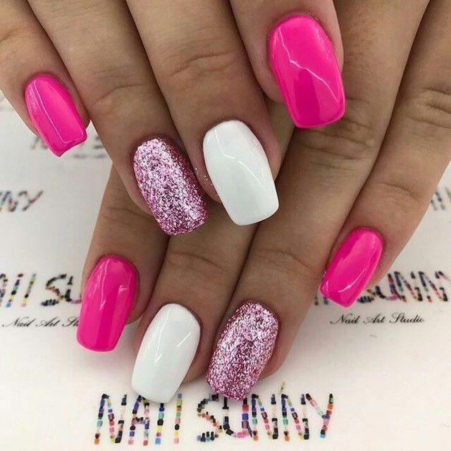 Unhas Simples E Delicadas Nailart Glitter Rosa